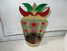 Vintage folk art style tin candle holder possibly Mexican