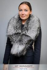 Premium SAGA SILVER FOX Fur Collar Scarf Wrap Stole Silberfuchs Stola Чернобурка