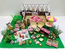 Sylvanian Families Conservatory & furniture Striped Cat family baby flowers food