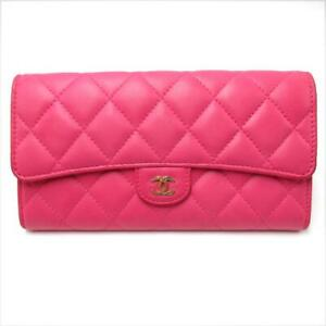 Authentic CHANEL Matelasse wallet Purse lambskin leather Pink Used CC Coco