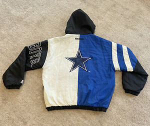 VTG Dallas Cowboys Starter Puffer Jacket Large NFL 1/2 Zip Pullover Insulated