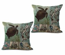 US SELLER-set of 2 seat cushion cover Sea life marine turtle ocean cushion cover