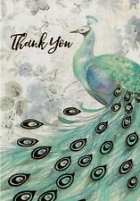 Thank You Card  Metallic Blue And Green Peacock With Matching Envelope