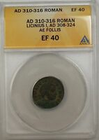 310-316 AD Roman Lincinius I Follis Ancient Coin AE Bronze ANACS EF 40