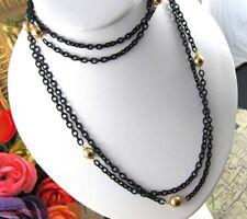 "Vintage Flapper Length Black Enamel Chain w/Gold Beads Necklace 60"""