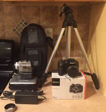 Sony DSC-H300 MP 20.1 Digital Camera  and Sony DCR-PC120 Camcorder + Extras Lot