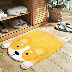 Cartoon Corgi Shiba Puppy Dog Faux Fur Animal Rug Bath Mat Room Carpet 45x75cm