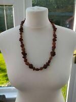 "Vintage Seeds Bead Necklace Brown 25"" Diameter - Pre-Owned"