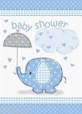 8 Baby Shower Invitation Cards Blue Umbrellaphants Party Supplies Boy Envelopes