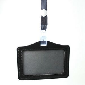 Black ID Badge Identity card Bank Card Holder Leather Case Cover and Lanyard