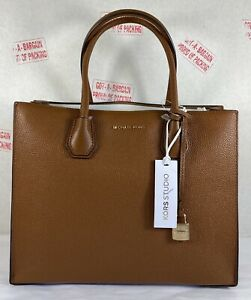 Michael Kors Mercer Large Convertible Luggage Pebbled Leather Tote Bag