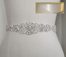 "21"" Wedding Bridal Sash Belt, Crystal Pearl Wedding Sash Belt = WHITE SATIN SASH"