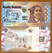 USA States, South Dakota, $50, Polymer, ND (2019), UNC > Chief Crazy Horse