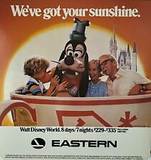 "EASTERN AIRLINES WALT DISNEY WORLD Vintage 1980'S Travel poster 21"" X 22"" PLUTO"