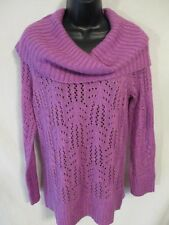 ELLE Acrylic Solid Reg Size Orchid Cowl Neck Sweater SR Regular M