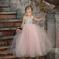 Toddler Kids Girl Flower Princess Dress Baby Party Wedding Lace Tulle Tutu Dress