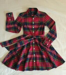 POLO RALPH LAUREN sz 7 Girls Flanelette Cotton Long Slv DRESS Shirt Button front