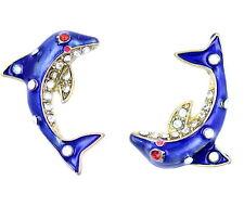 Esmalte Azul Estilo Vintage Ojo De Cristal Pendientes con delfín