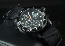 DEEP BLUE 40mm BLACK PVD Diver 1000 Chronograph SAPPHIRE Watch w/ Extra Strap