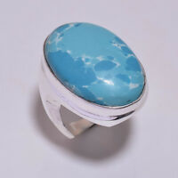 925 Sterling Silver Overlay Ring Size UK O 1/2, Gemstone Turkish Jewelry PR862