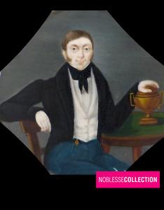 CURIOUS ANTIQUE 1830s FRENCH MINIATURE HAND PAINTED GOUACHE Young man Portrait