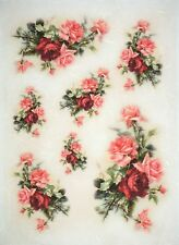 Rice Paper for Decoupage Decopatch Scrapbook Craft Sheet Red Roses
