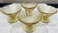 4 Federal Glass MADRID Amber Cone Shaped Sherbet Dish Cocktail Depression Glass