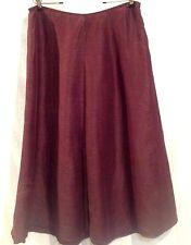 Eileen Fisher Skirt Sz L Womens Linen Silk Cassis Burgundy Wine