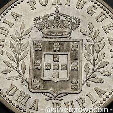 SCC India Portuguese Uma Rupia 1903. KM#17.  One Silver Dollar Florin coin. GOA.