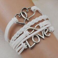 Infinity Cute Heart Love Antique Silver Korea Velvet Leather Bracelet For Girl