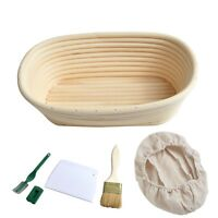 Set 5 Oval 25x15x8cm Bread Proofing Basket Dough Proving Bannetons Liner/Brush
