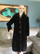 True Vintage 1960's Dark Brown Faux Mink Fur Long Coat Jacket Woman's S/M 60's