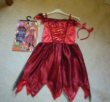 Girls Halloween Fiendish Devil fancy dress costume - dress and horns 11-12 years