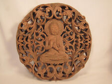 Large Hand Carved Wood Buddha Wall Plaque 14 3/4 Inches W x 15 1/4 inches H