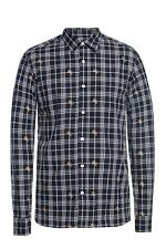 Burberry Logo Embroidered Check Navy Shirt Size XL