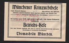 MÜNCHEN, Werbung 1916, Thomasbräu Münchener Reinzuchthefe
