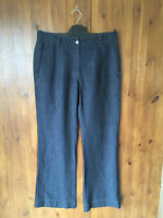 RRP £119 POETRY SUMMER 100% LINEN TROUSERS Navy Blue Striped UK 10 / EUR 38 NEW