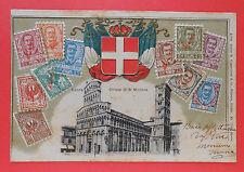 7205) Lucca Chiesa di S. Michele - Francobolli in rilievo  - Viaggiata 1906