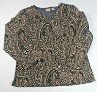 Chicos Womens Top Sz 1(M/8) Paisley Pattern. Multicolor Metal Thread Long Sleeve