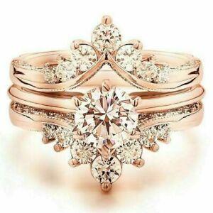 Elegant Women 3 pcs/set Rose Gold Ring Morganite Wedding Jewelry Rings Size 6