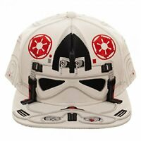Officially licensed Star Wars at-at Pilot Big Face Snapback Hat White New