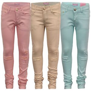 Girls Chino Style Jeans Kids Pants Ripped Trousers Bottoms Fashion Casual Summer