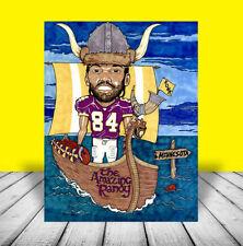 New RANDY MOSS in Minnesota Vikings #84 football jersey POSTER ART artist signed