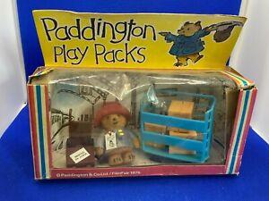 Vintage 1975 FilmFair Paddington Bear Play Pack - Flocked 2.5cm Bear - Boxed