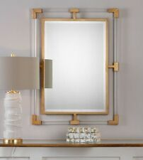 LUCITE ANTIQUE GOLD CAPPED  Mirror Jonathan Adler Anthropologie Replica MODERN