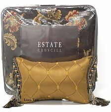 CROSCILL Savannah KING COMFORTER SET 5pc PILLOW JACOBEAN FLORAL GOLD BROWN NEW