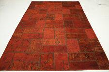 Orient Tapis Patchwork Vintage rouge Used Look 310x200 moderne noué à la main