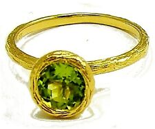 18K Solid Yellow Gold and Green Peridot Round Solitaire Stackable Ring