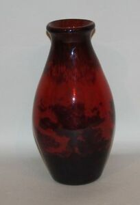 Muller Fres Luneville France Signed 11'' Red Blue & Black Mottled Art Glass Vase