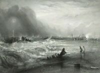 Ship rescue, Stranded Vessel of Yarmouth 19th century print after JMW Turner